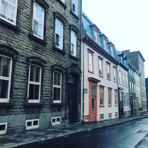 Walking along streets in Old Quebec