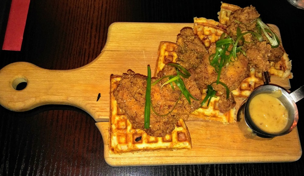 Fried chicken on house waffles