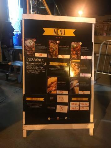 Night menu
