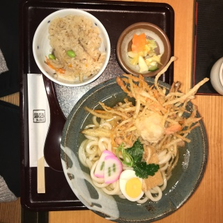 udon with tempura shrimp