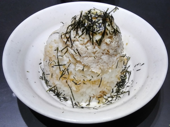 Chiki chiki don - rice with minced chicken breast and Japanese mayo, heavily sprinkled with nori.