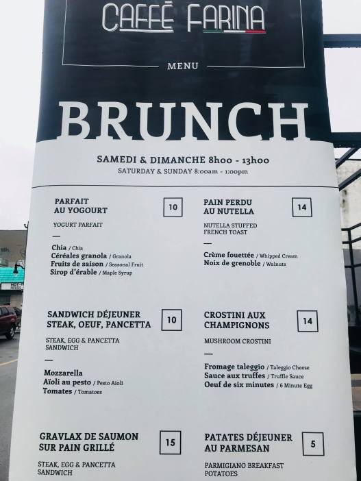 Caffe Farina brunch menu