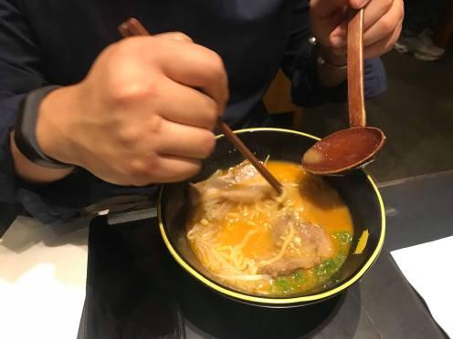 Mixing in the garlic...