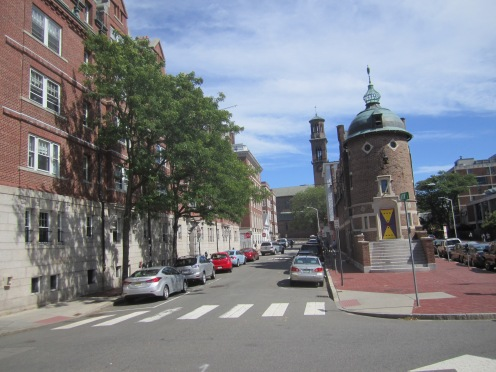 Building on the left is the Harvard Lampoon