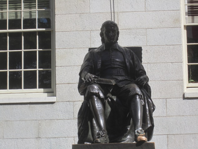 The statue of John Harvard. Note just how worn out his left foot is.