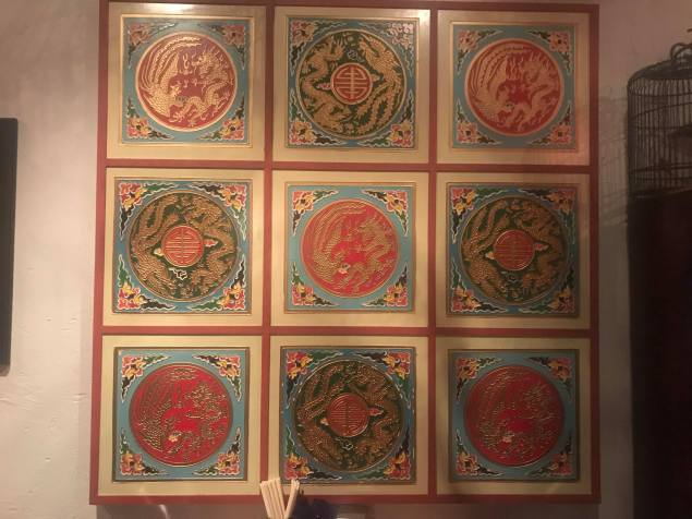 Nine decorative tiles