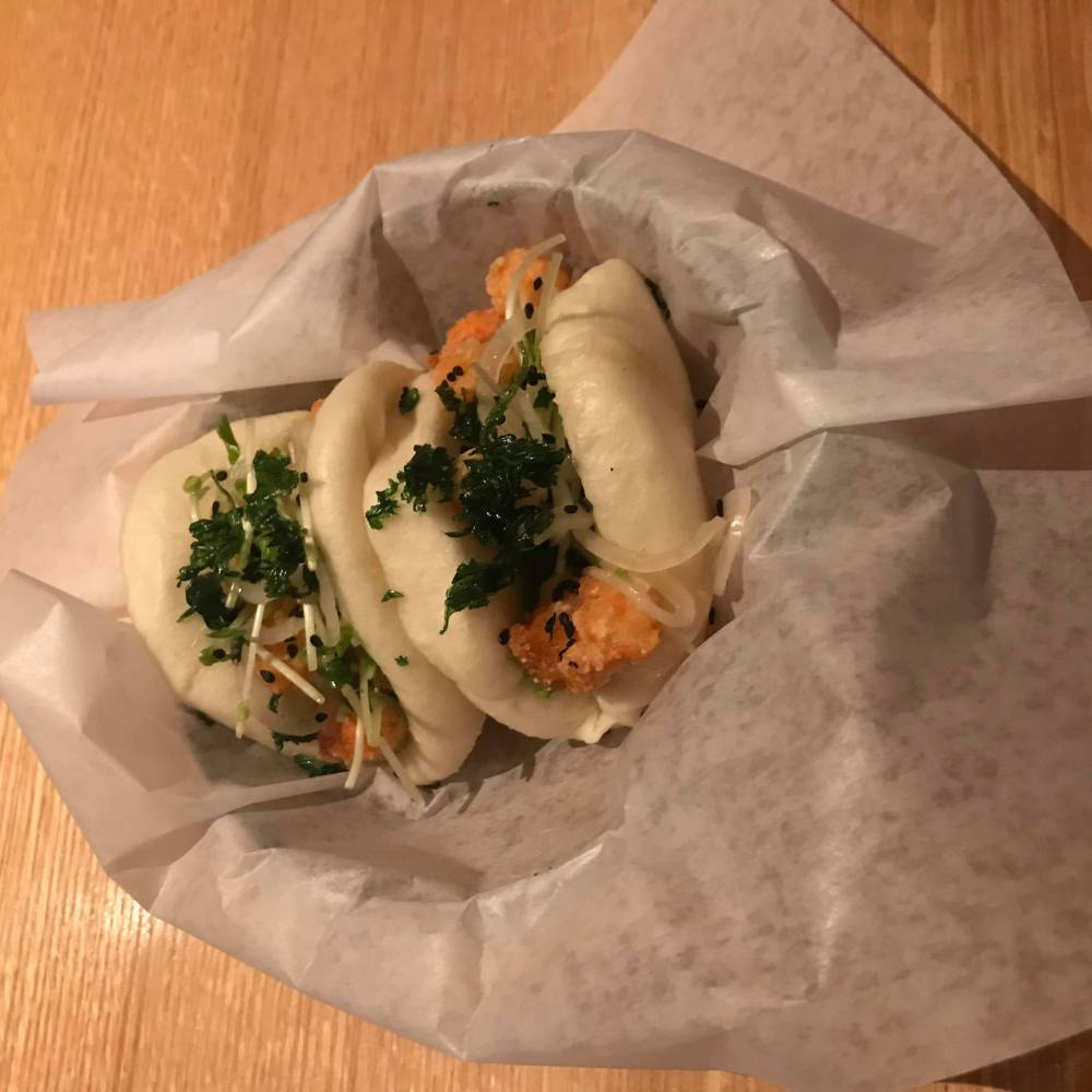 Steamed buns with fried shrimp
