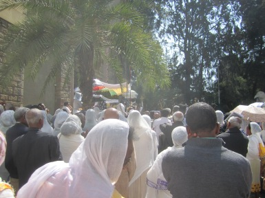The crowds outside the church