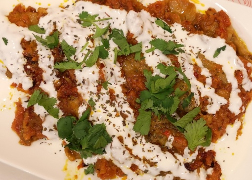 Baanjaan Burani - Eggplant with yogurt sauce
