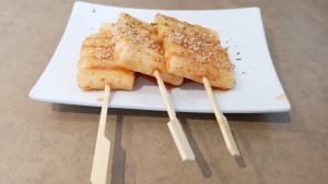 Fried rice sticks on skewers