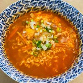 Noodles and soup are exceedingly tasty