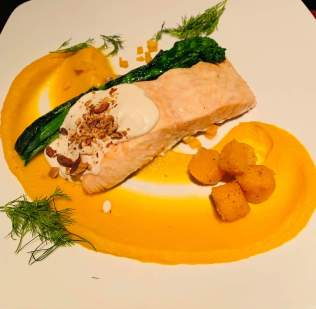 Roasted salmon, with an amazing almond sauce