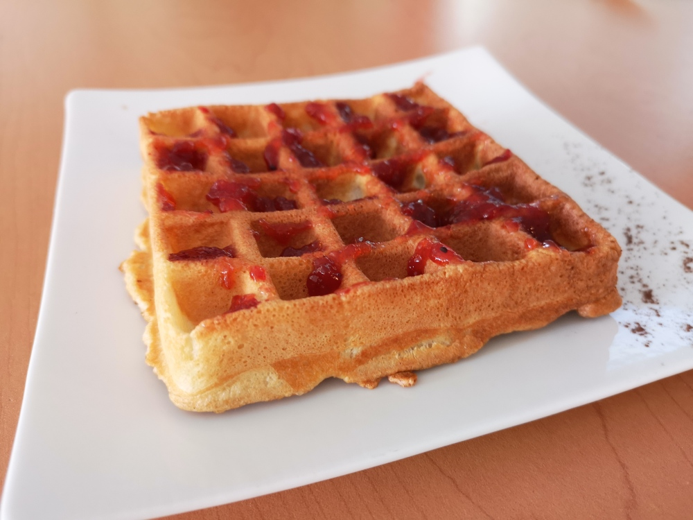 Waffle with house jam