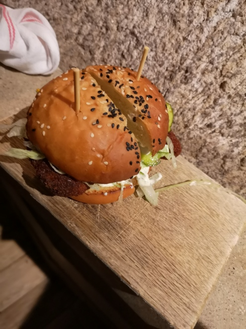 The fish sandwich - so thick it needs the toothpicks!