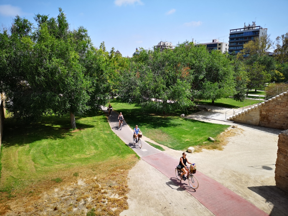 Biking along the Turia Garden