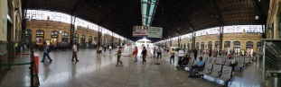 Panoramic shot of the inside of the train station